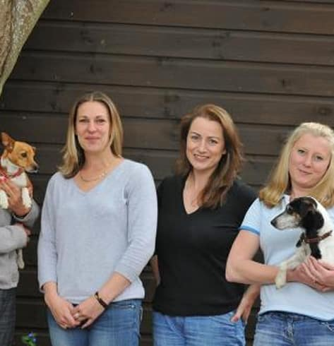 4 ladies smiling to the camera, 2 holding dogs