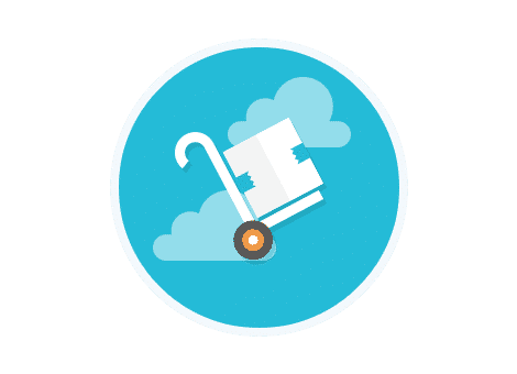 trolley icon on a blue background with white clouds