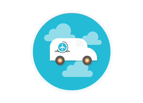 van icon on blue background with white clouds