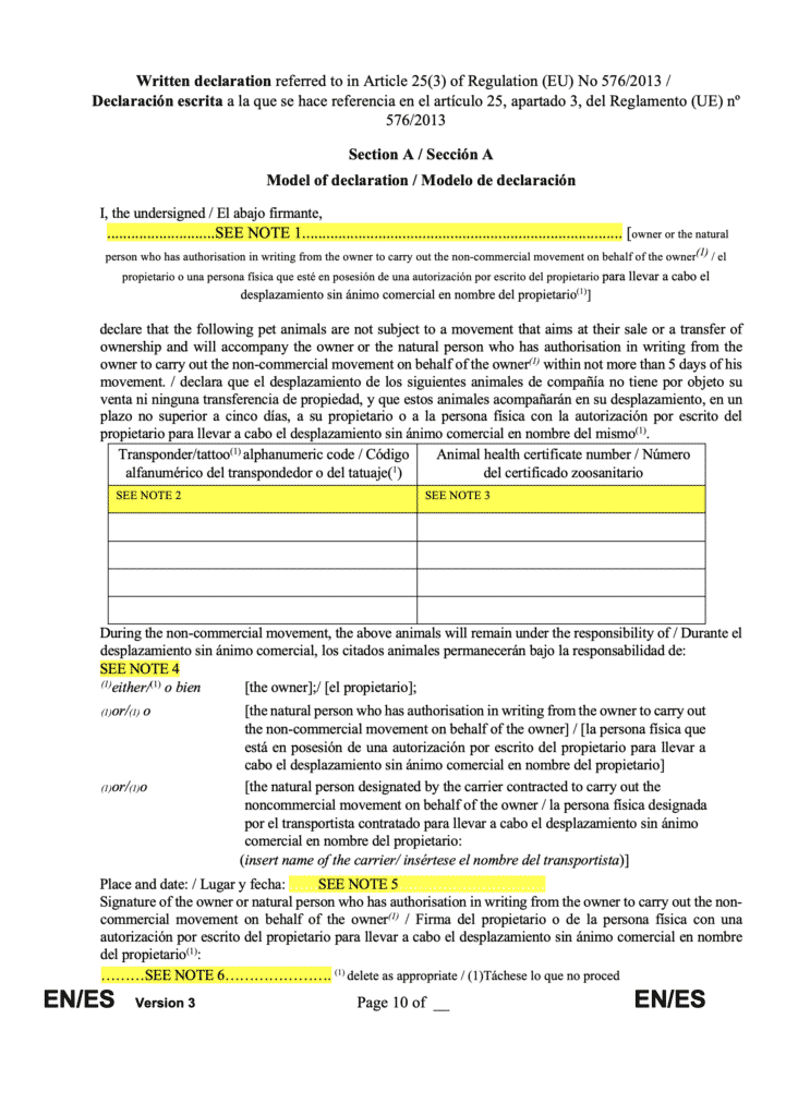 EU owners declaration
